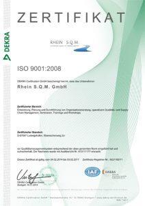 DIN EN ISO 9001:2008 Zertifikat Rhein S.Q.M. GmbH